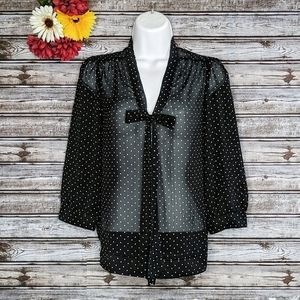 The Limited | Black Polka Dot Tie Neck Blouse | XS